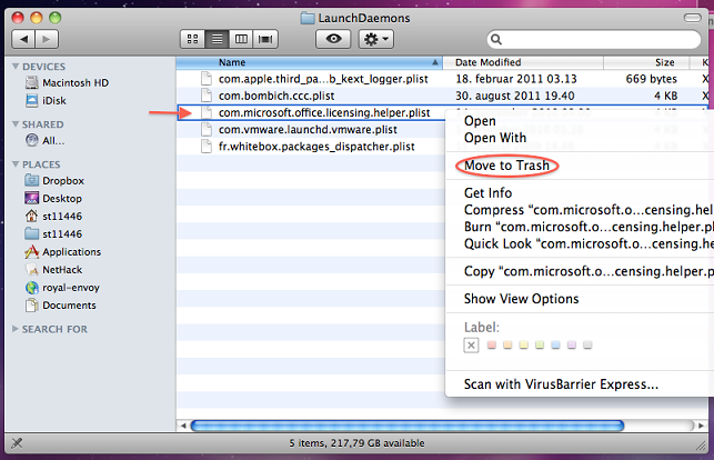 uninstall office mac 2011