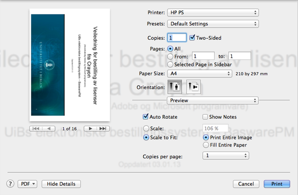 Mac Os X Pullprint Single Sided Printing Ithelp Uib